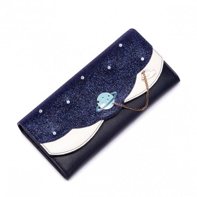 JUST STAR Kosmiczny portfel granatowy