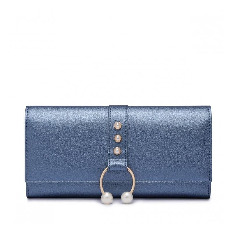 2bf271bd8139c NUCELLE Długi metaliczny portfel niebieski  NUCELLE Długi metaliczny portfel  niebieski ...