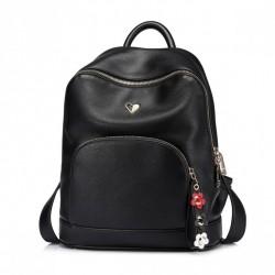 NUCELLE Czarny plecak z kwiatową zawieszką