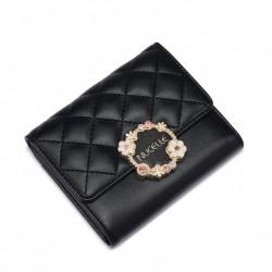 NUCELLE Krótki pikowany portfel Czarny