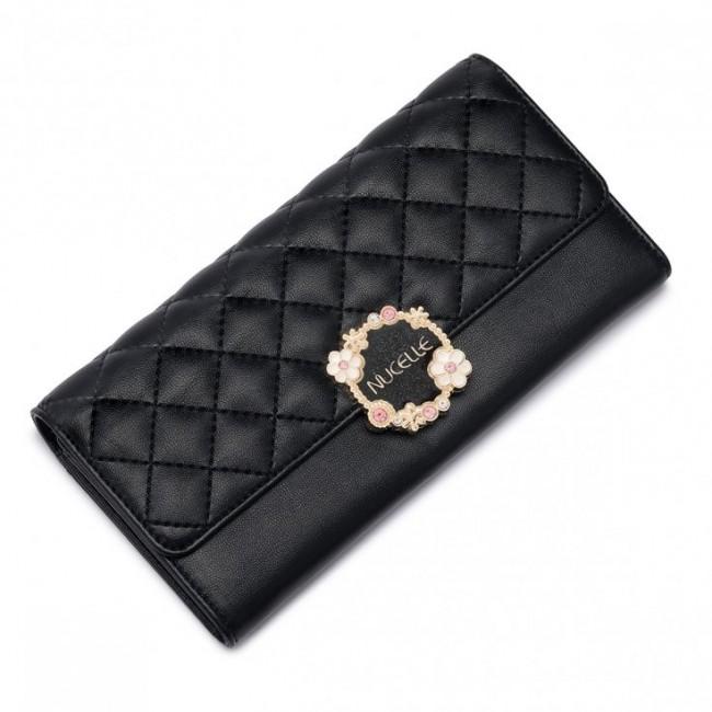 NUCELLE Długi pikowany portfel Czarny