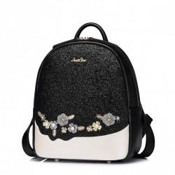 JUST STAR Zgrabny plecak w kwiaty Czarny