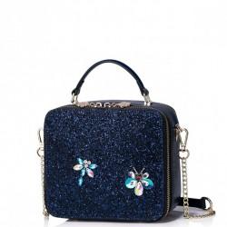Mini kuferek na łańcuszku z ważką Niebieski
