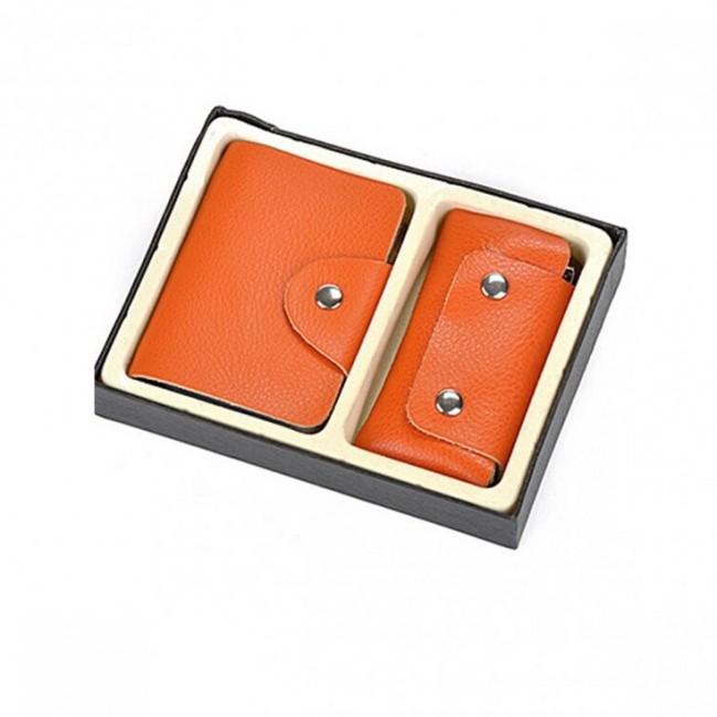 Zestaw pomarańczowy: wizytownik + etui na klucze