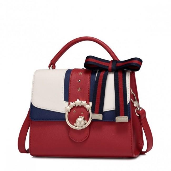 JUST STAR Czerwona torebka z dużą kokardą