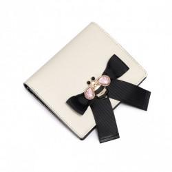 JUST STAR Skromny portfel z kokardą Ecru