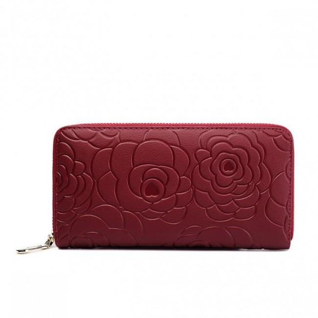 Stylowy portfel z wytłoczeniem Czerwony