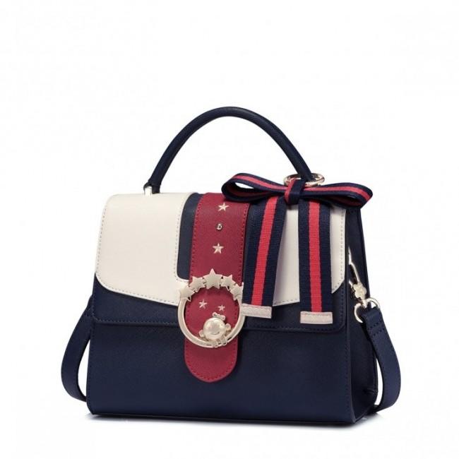 JUST STAR Granatowa torebka z dużą kokardą