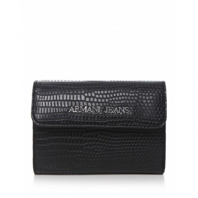 Wężowy czarny portfel Armani Jeans
