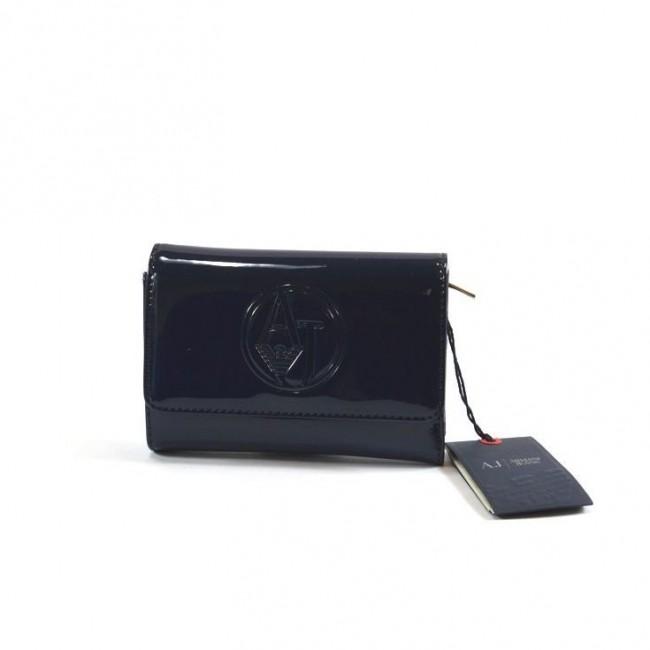 Krótki lakierowany portfel czarny Armani Jeans