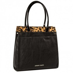 Pojemna torebka z panterką Czarna
