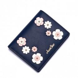 JUST STAR Uroczy portfel w kwiatki Granatowy