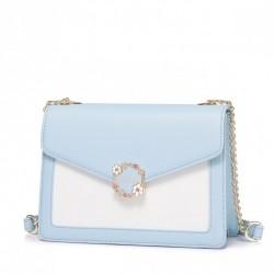 NUCELLE Dwukolorowa kopertówka na ramię Niebiesko-biała