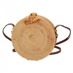 Okrągła torebka koszyk z ratanu w kolorze naturalnym ze skórzanym paskiem FRENCH RIVIERA