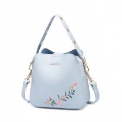 JUST STAR Niebieski kuferek z motywem kwiatowym