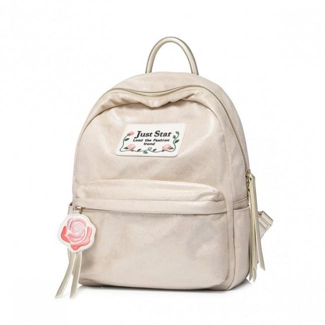 Stylowy złoty plecak ze skóry ekologicznej Just Star