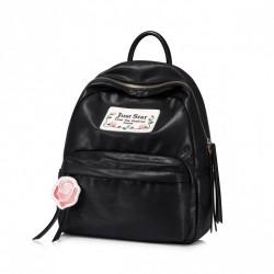 Stylowy czarny plecak ze skóry ekologicznej Just Star