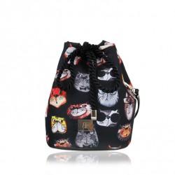 Torebka/worek na ramię z wodoodpornego materiału w koty