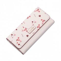 Długi wiosenny portfel różowy