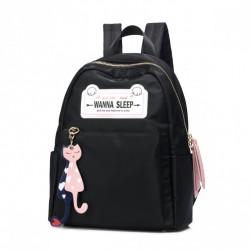 Modny plecak z kocimi zawieszkami, czarny