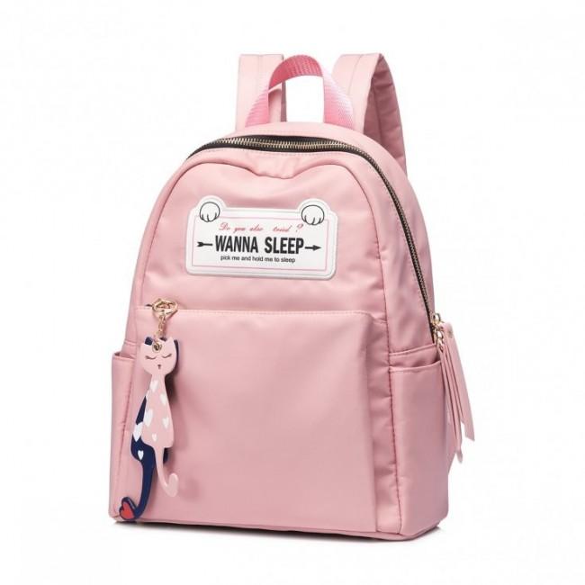Modny plecak z kocimi zawieszkami, różowy