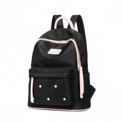 Czarny plecak nylon, z różowymi dodatkami