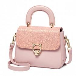 Torebka, różowy kuferek z brokatową klapką
