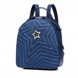 A'la jeansowy plecak z gwiazdą granatowy
