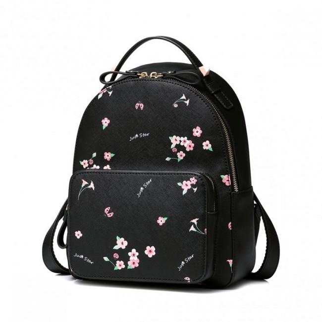 Czarny kwiatowy plecak ze skóry ekologicznej