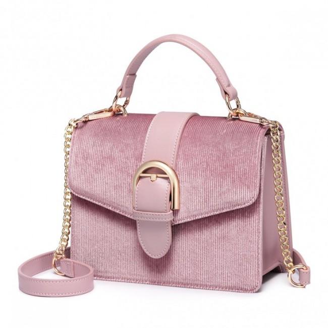 Różowa torebka z materiału z uchwytem