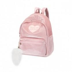 Różowy plecak z dużym pomponem