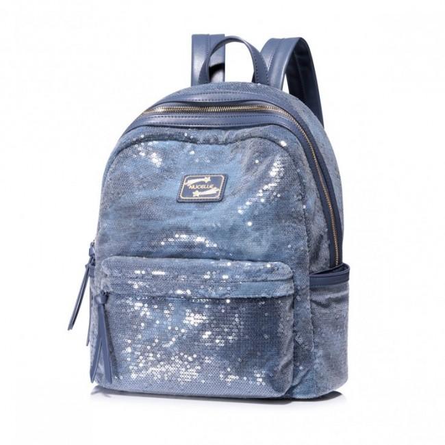 Błyszczący niebieski plecak