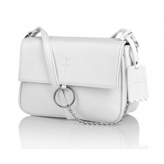 Biała skórzana torebka na ramię