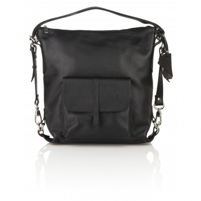Torebko-plecak czarny ze skóry naturalnej