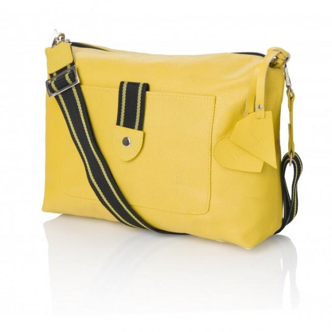 Żółta torebka z parcianym paskiem