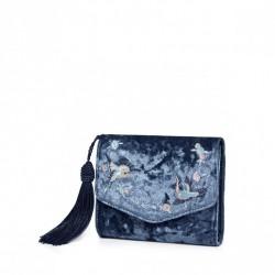 Welurowy portfel granatowy