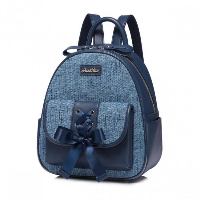 Plecak materiałowy z kokardą niebieski