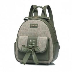 Plecak materiałowy z kokardą zielony