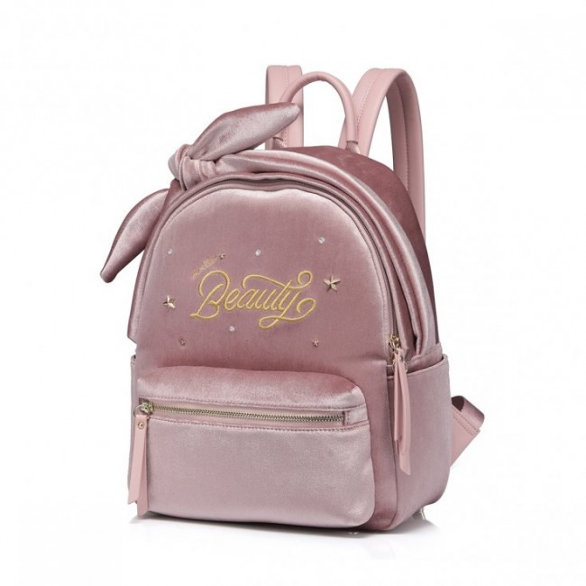 Różowy plecak welurowy beauty