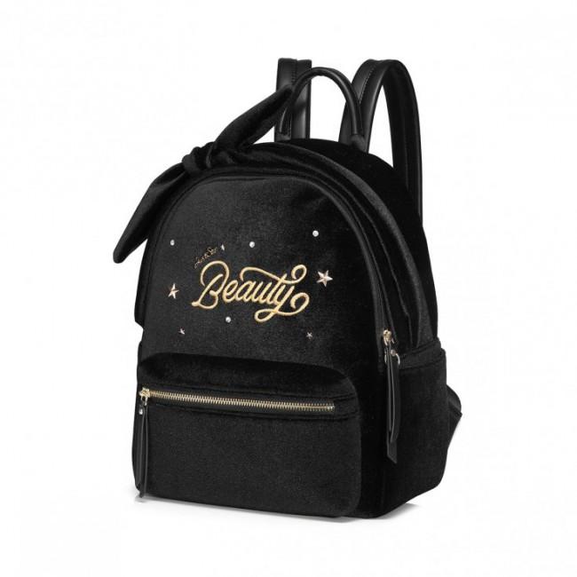 Plecak welurowy czarny Beauty 1