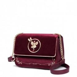 Nowa torba na ramię w stylu vintage velour w kolorze czerwonym