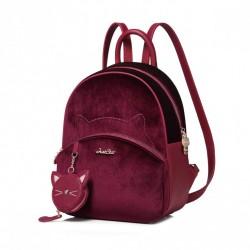 Nowy, zimowy aksamitny plecak, kolor czerwony