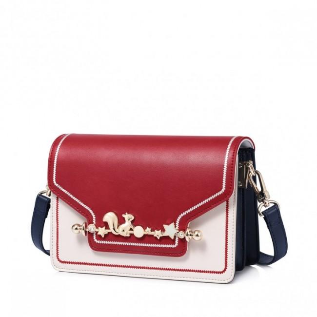 Kontrastowa torebka na ramię, czerwona klapka