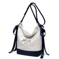 Biała torebka na ramię z boku granatowe kokardy