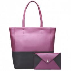 Pojemna kobieca torebka - Różowo-czarna
