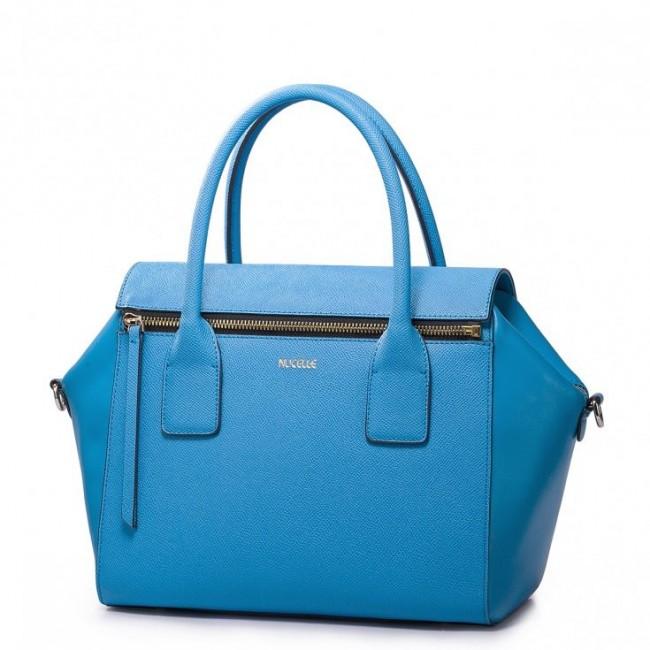 Modna torebka skórzana Niebieska