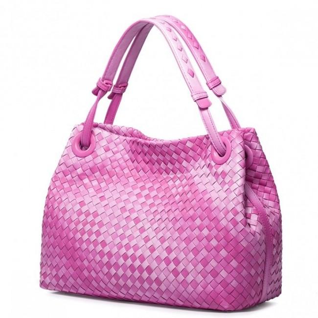 Wysokiej klasy damska torebka z owczej skóry Różowa