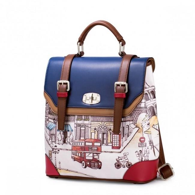 JUST STAR Plecak/torebka na ramię z motywem angielskim Niebieska