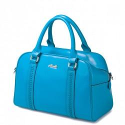 NUCELLE Wyszywana damska torebka ze skóry Niebieska