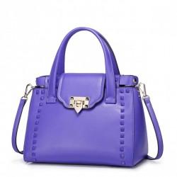 NUCELLE Kolorowa skórzana torebka z ćwiekami Purpurowa